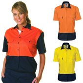 Ladies HiVis Two Tone Cotton Drill Shirt Short Sleeve