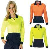 Ladies HiVis Two Tone Polo Long Sleeve