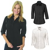 Ladies Poly/Cotton Business Shirt Three Quarter Sleeve