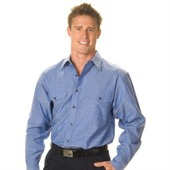 Mens Cotton Chambray Twin Flap Pockets Long Sleeve
