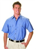 Mens Cotton Chambray Twin Flap Pockets