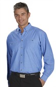 Mens Wrinkle Free Chambray Shirt Long Sleeve