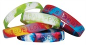 Multi Coloured Debossed Silicone Wristbands