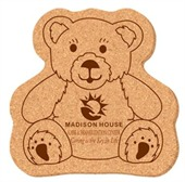 Small Teddy Bear Shaped Cork Coaster